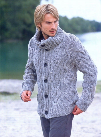 Men's hand knit buttoned cardigan 2A