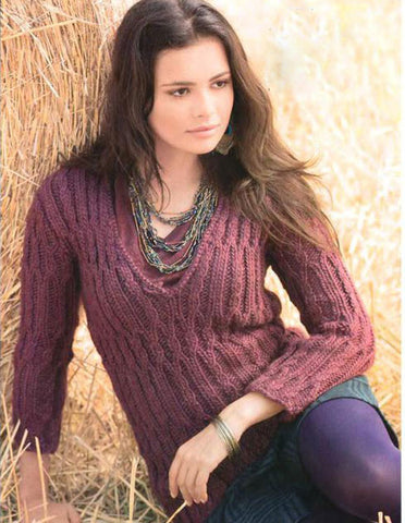 Women's Hand Knit V-neck Sweater 46J - KnitWearMasters