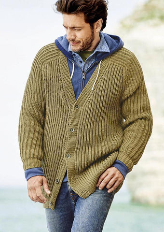 Men's hand knit Shawl Collar cardigan 258A - KnitWearMasters