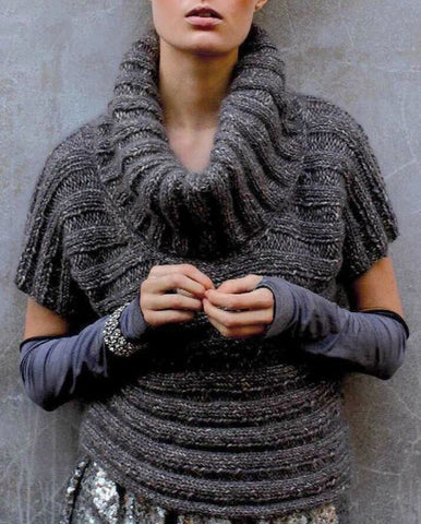 Women Hand Knit Cowl Neck Sweater 77H - KnitWearMasters