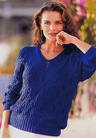 Women's Hand Knit V-neck Sweater 53J - KnitWearMasters