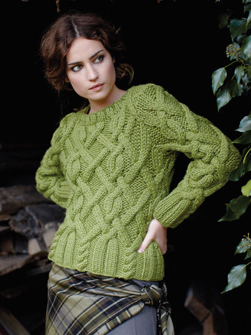 Women Hand Knit Crew Neck Sweater 73G