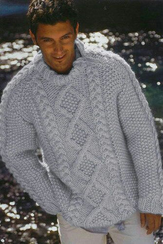 Men's Hand Knitted Thick Mohair Sweater 278B - KnitWearMasters