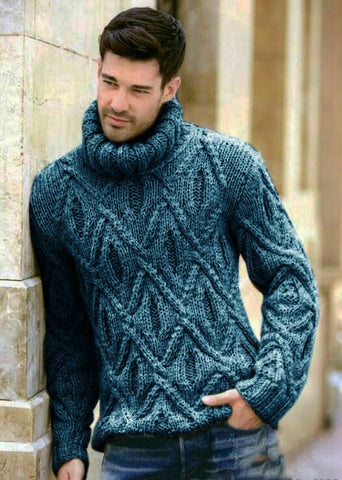 Men's Hand Knit Turtleneck Sweater 292B - KnitWearMasters