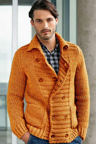 Men's Hand Knit Double Breasted Cardigan 264A - KnitWearMasters