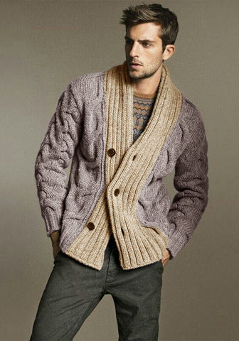 MEN'S HAND KNIT WOOL CARDIGAN 265A - KnitWearMasters