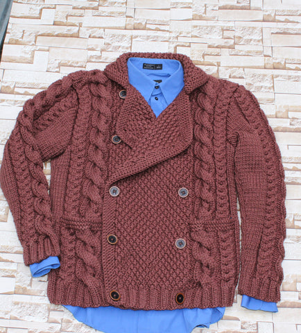 Men Hand Knit Double Breasted Cardigan 50A - KnitWearMasters