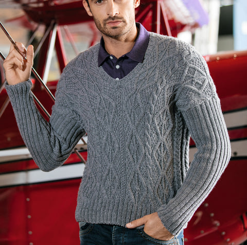 MADE TO ORDER Men Hand Knit V-NECK Sweater 247B - KnitWearMasters