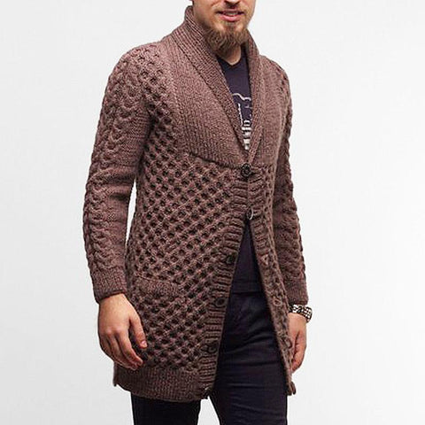 Men's hand knit Long cardigan 259A - KnitWearMasters