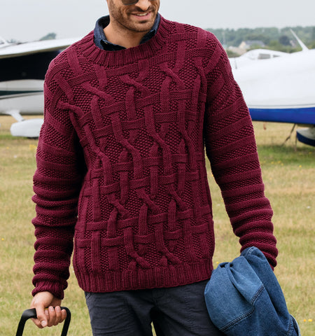 Men's Hand Knit Crewneck Sweater 244B