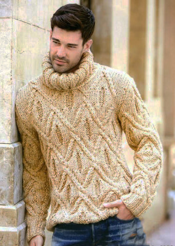 Men's Hand Knit Turtleneck Sweater 129B - KnitWearMasters
