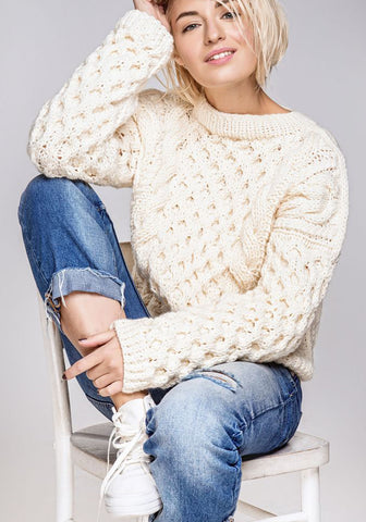 Women's Hand Knitted Boatneck Sweater 17C - KnitWearMasters