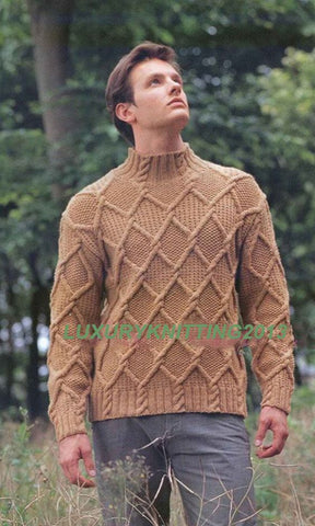 Men's Hand Knit Turtleneck Sweater 130B - KnitWearMasters