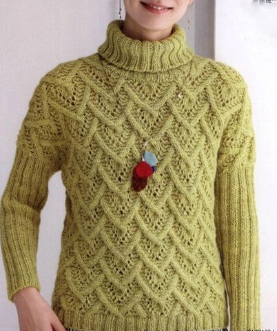Womens Hand Knit Wool  Turtleneck Sweater 77K - KnitWearMasters