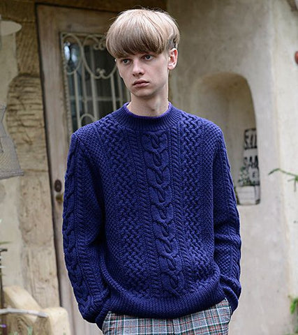 Men's Hand Knit Crew Neck Sweater 138B