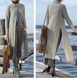 Womens Long Hand Knit Coat 58F - KnitWearMasters