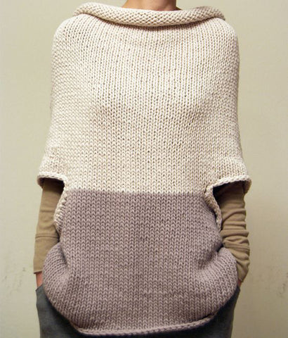 Womens Hand Knit Wool Cape 17N