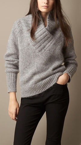 Women's Hand Knit V-neck Sweater 74J - KnitWearMasters