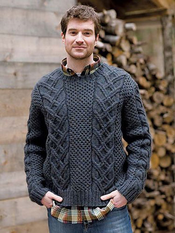 Men's Hand Knit Crew Neck Sweater 140B