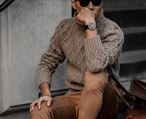Men's Hand Knit Turtleneck Wool Sweater 233B - KnitWearMasters