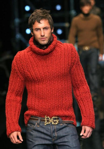 Men's Hand Knit Turtleneck Sweater 128B