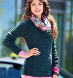 Women's Hand Knit Cowl Neck Sweater 51H - KnitWearMasters