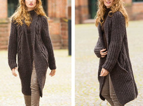 Womens Long Hand Knit Coat 59F - KnitWearMasters