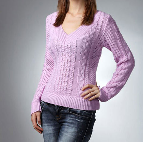 Women's Hand Knit V-neck Sweater 15J - KnitWearMasters