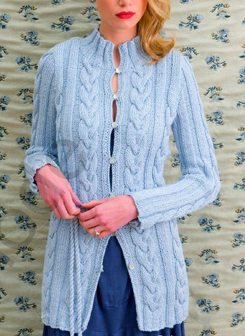 Women's Hand Knitted Cabled Cardigan 12D - KnitWearMasters
