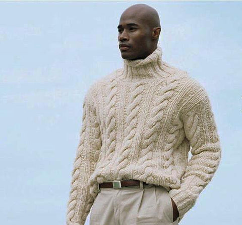 Men's Hand Knit Turtleneck Cabled Wool Sweater 88B - KnitWearMasters