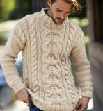 Men's Hand Knit Wool Turtleneck Sweater 67B - KnitWearMasters
