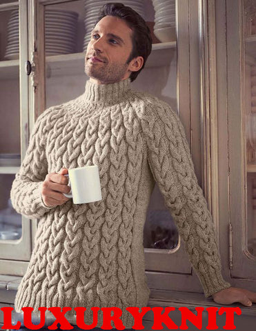 Men's Hand Knit Wool Turtleneck Sweater 68B - KnitWearMasters