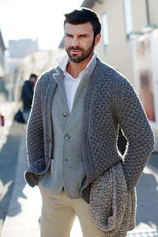 Men hand knit Shawl Collar cardigan 143A - KnitWearMasters