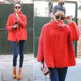 Women's Hand Knitted Short Thick Wool Cardigan 18D