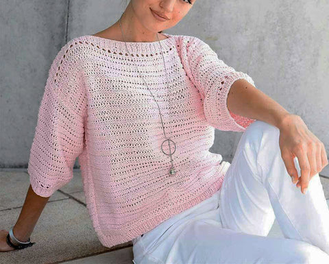 Women's Summer Knitted Blouse, 46S - KnitWearMasters