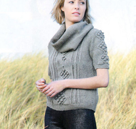 Women's Hand Knit Cowl Neck Sweater 54H - KnitWearMasters