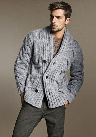 MENS HAND KNIT WOOL CARDIGAN 113A - KnitWearMasters