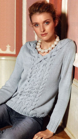 Women's Hand Knit V-neck Sweater 14J - KnitWearMasters