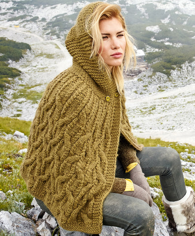 Womens Hand Knit Wool Cape 82N - KnitWearMasters