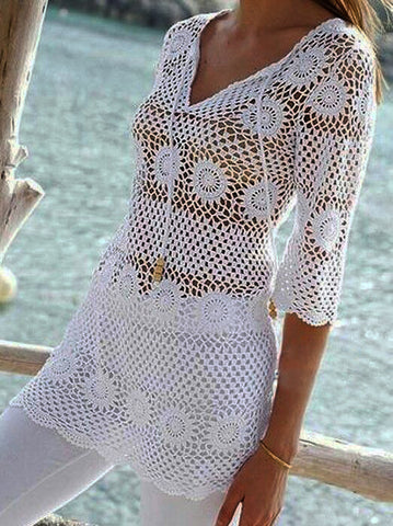 Women Crochet Blouse, 26S - KnitWearMasters