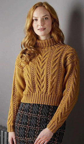 Women Hand Knit Turtleneck Sweater 90K