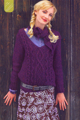 Women's Hand Knit V-neck Sweater 56J - KnitWearMasters