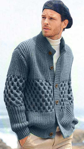MADE TO ORDER Men hand knit cardigan 141A
