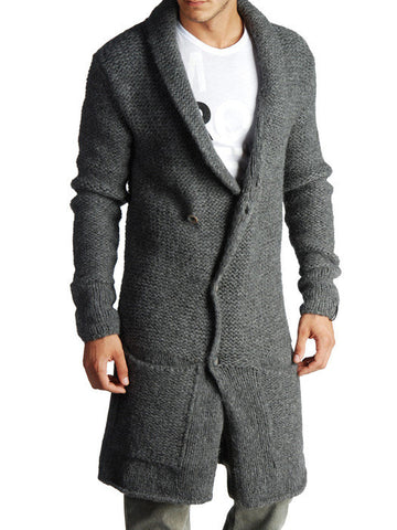 Men Hand Knit Long Cardigan 43A - KnitWearMasters