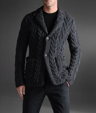 Men Hand Knit Cable Cardigan 79A - KnitWearMasters
