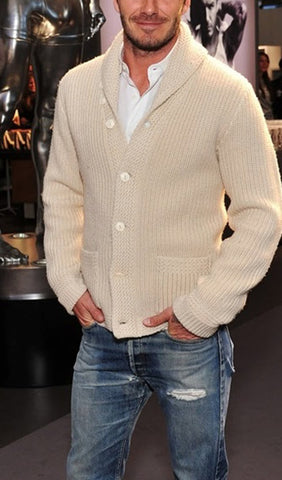 Men's Hand Knit Shawl Collar Cardigan 37A - KnitWearMasters