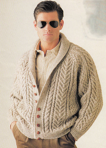 Men's Hand Knit Shawl Collar Cardigan 35A - KnitWearMasters
