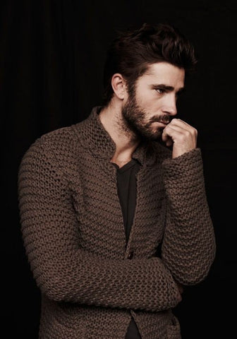 Men's hand knit cardigan 32A