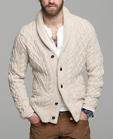 Men's Hand Knit Shawl Collar Cardigan 28A - KnitWearMasters