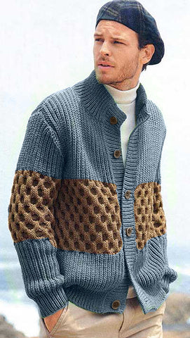 MADE TO ORDER Men hand knit cardigan 138A